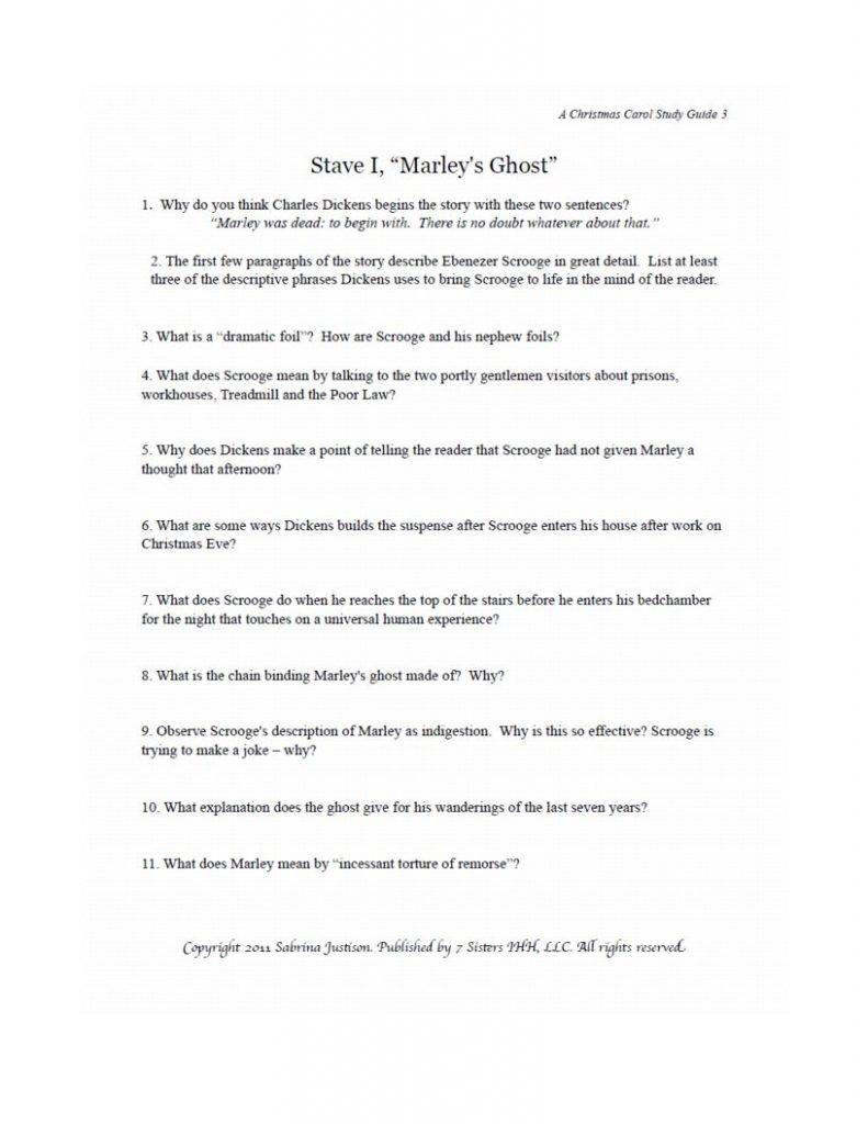 a christmas carol study guide pdf