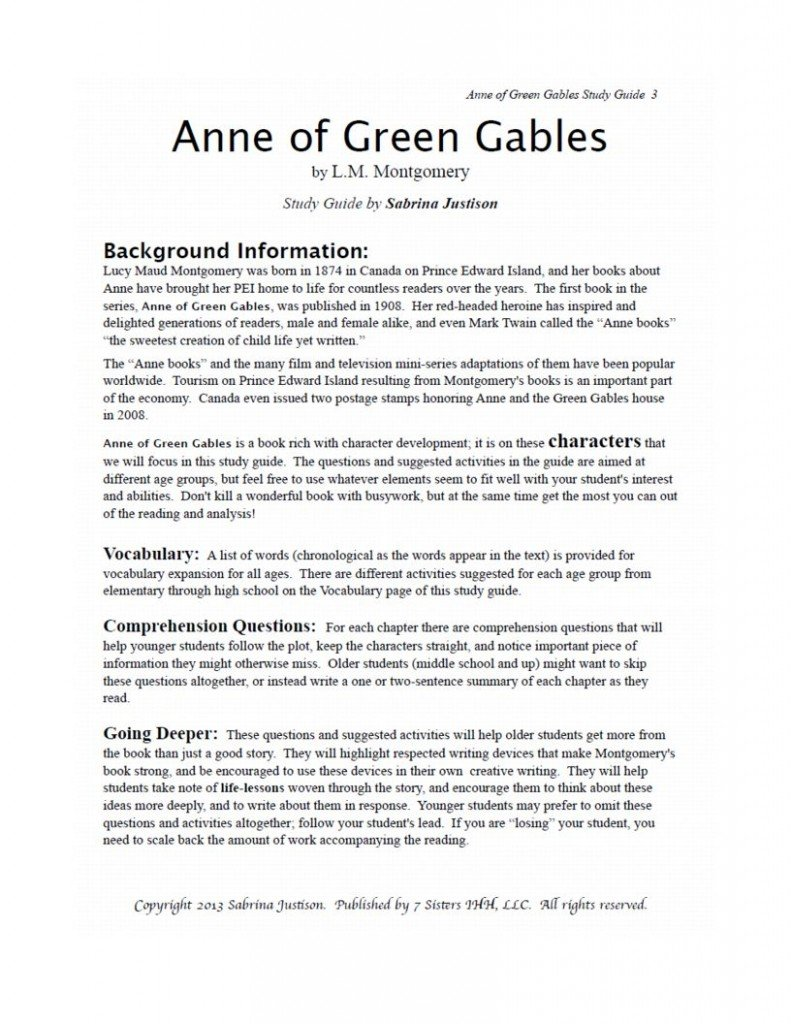 Excerpt From Anne Of Green Gables Sg 7sistershomeschool Com
