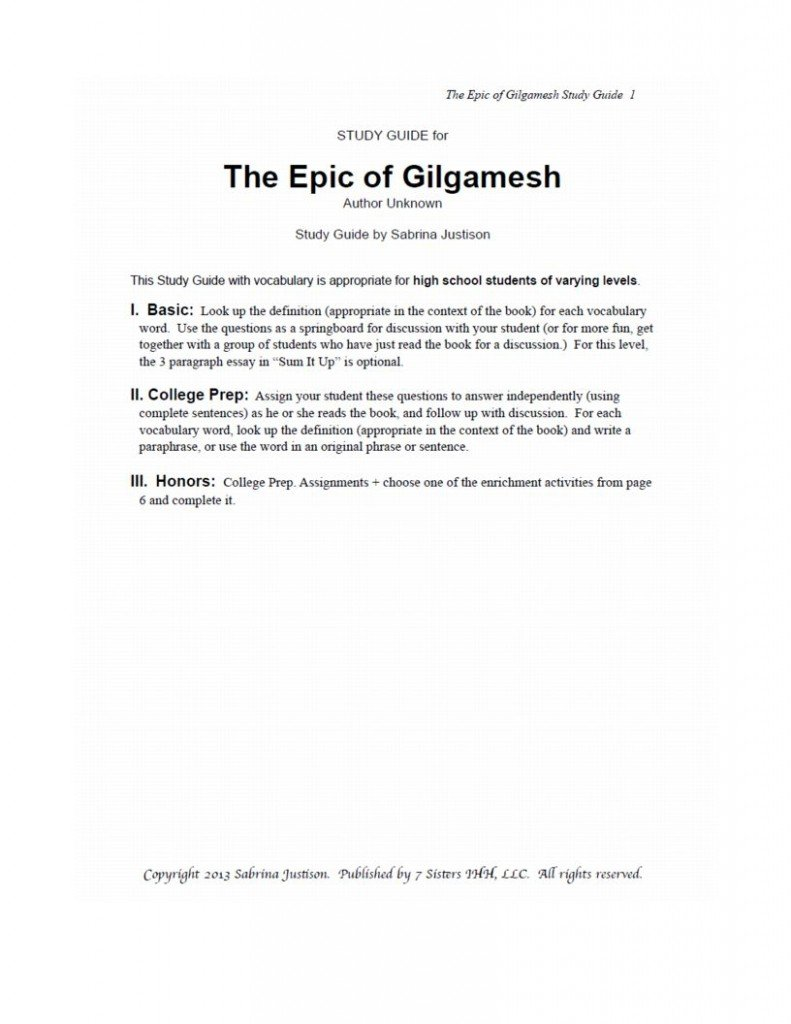excerpt from epic of gilgamesh com