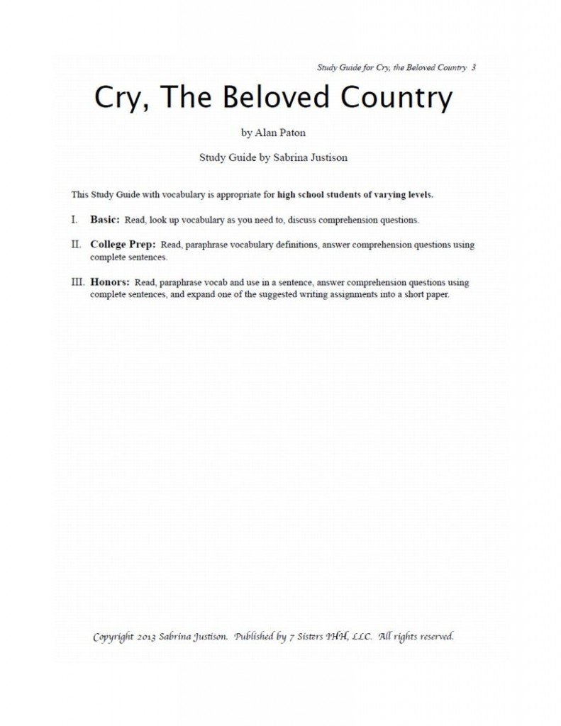 cry the beloved country study guide pdf