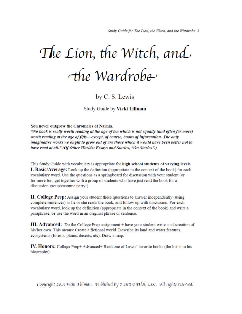 excerpt for the lion the witch and the wardrobe lww 1 lww 2