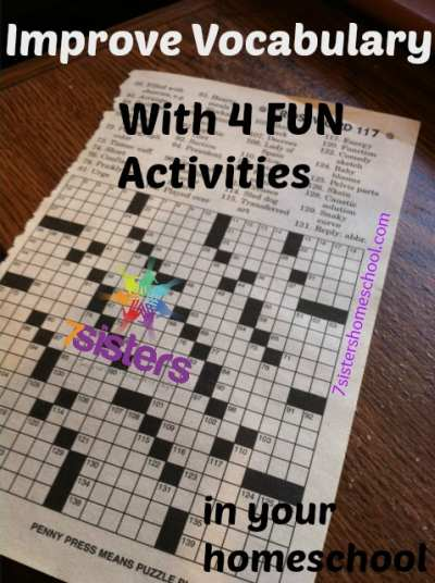 Improve Vocabulary with fun activities from 7sistershomeschool.com
