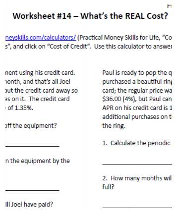 What is the REAL Cost? Financial Literacy Worksheet Sample