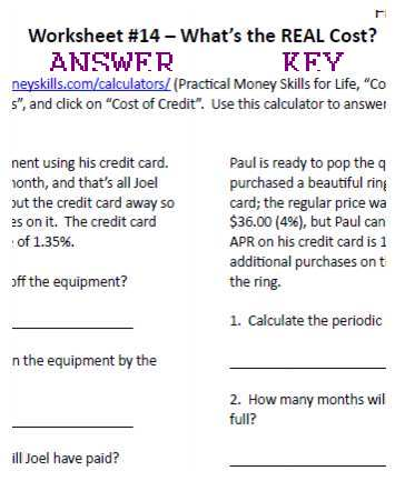Worksheet Answer Key for What is the REAL Cost?