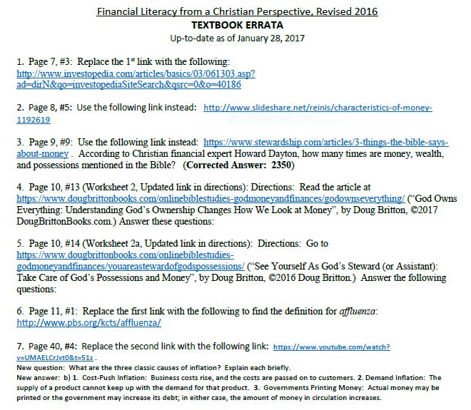 Financial Literacy UPDATED Links Listing for 2017 Edition