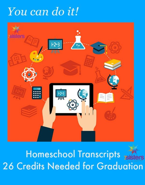 Homeschool High School Transcripts- the 26 Credits Needed for Graduation from 7 Sisters Homeschool
