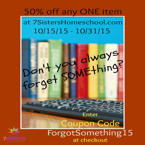 Can you believe this 50 off one 7sisters text 7sistershomeschool forgot something any one 7sisters text is 50 off through oct 31 2015 fandeluxe Gallery