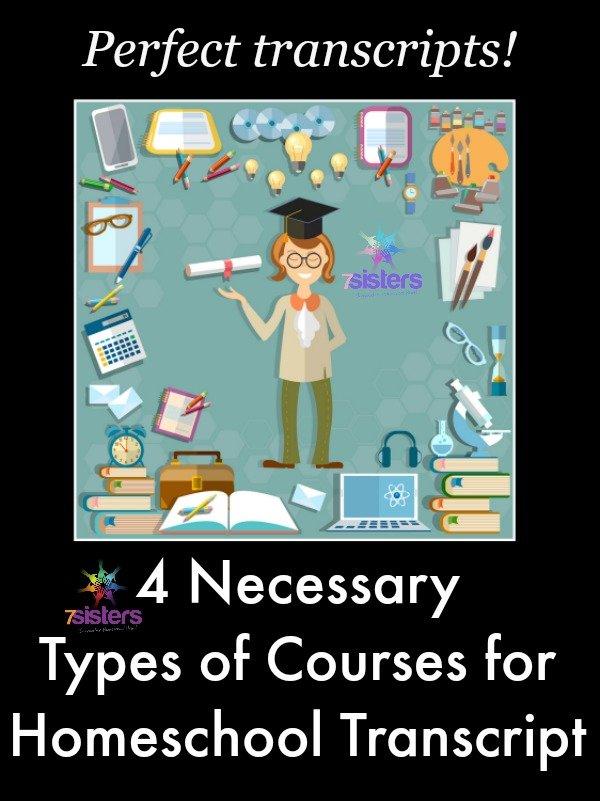 4 Necessary Types of Courses for Homeschool Transcript 7SistersHomeschool.com