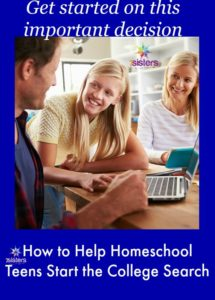 College Search for Homeschool Teens 7SistersHomeschool.com