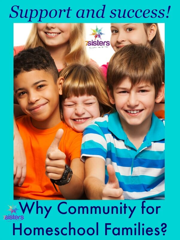 Why Community for Homeschool Families 7SistersHomeschool.com #HomeschoolCommunity Photo shows a group of happy elementary kids giving the thumbs up.