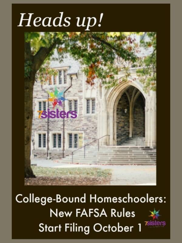 College Bound Homeschoolers New FAFSA Rules - Start Filing October 1