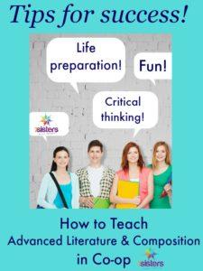 Teaching Advanced Literature & Composition in Co-op 7SistersHomeschool.com
