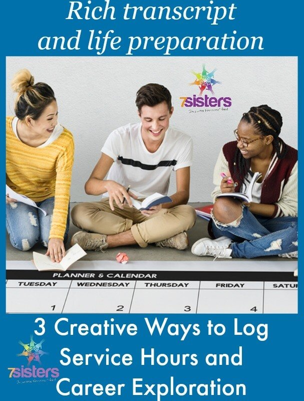 3 Creative Ways to Log Service and Life Preparation on Homeschool Transcript 7SistersHomeschool.com