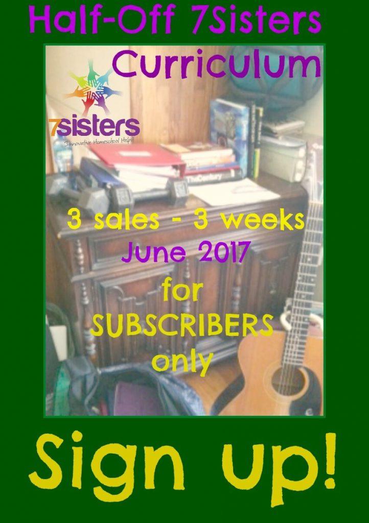 Half-Off 7Sisters Curriculum in June 2017