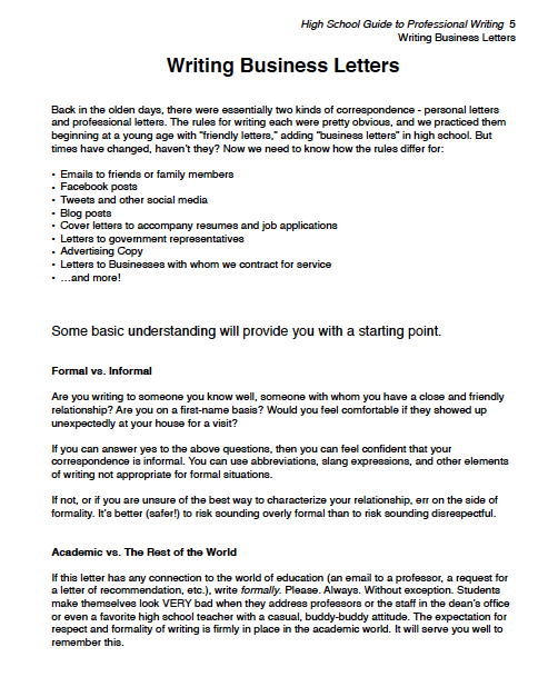 Excerpt 1 from High School Guide to Professional Writing at 7sistershomeschool.com