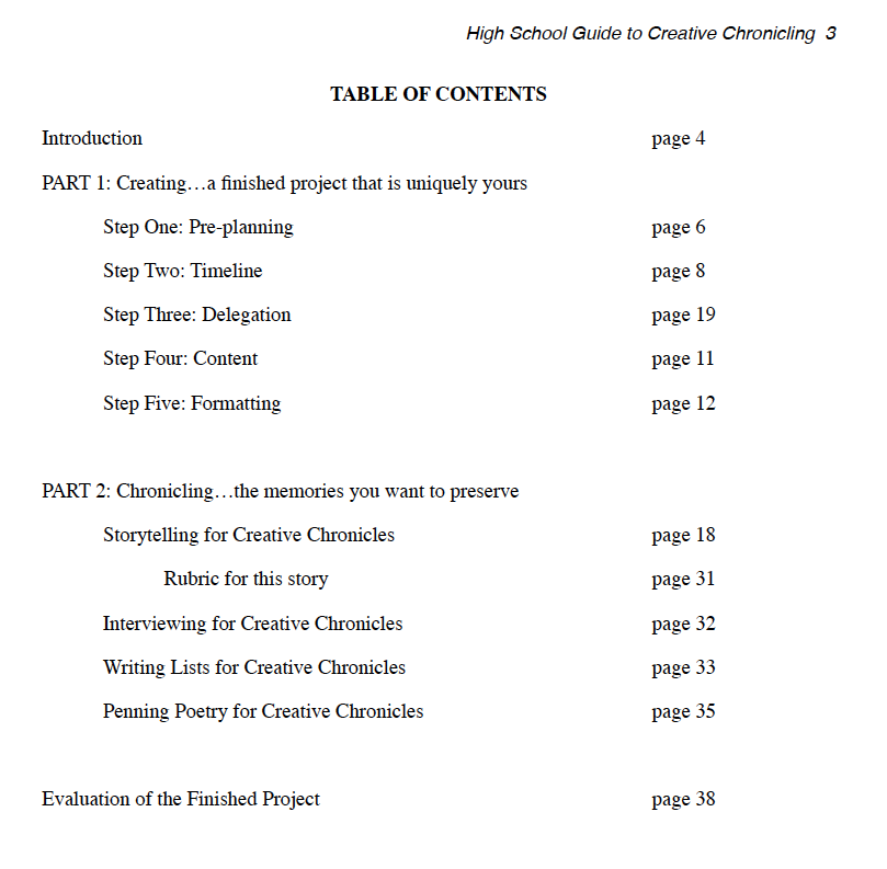 TOC High School Guide to Creative Chronicling