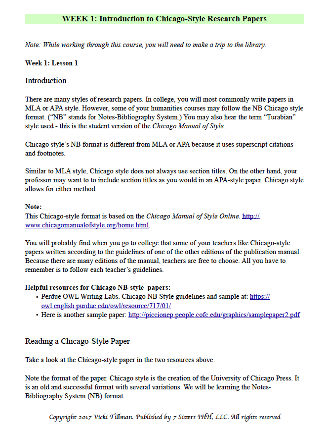 Chicago style research papers