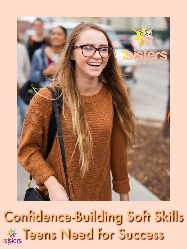10 Top Confidence Building Soft Skills Teens Need for Success 7SistersHomeschool.com #SoftSkillsForTeens #HomeschoolHighSchool #SocialSkillsForHomeschoolTeens #7SistersHomeschool This photo shows a smiling teen girl walking to her job interview feeling nervous but confident.