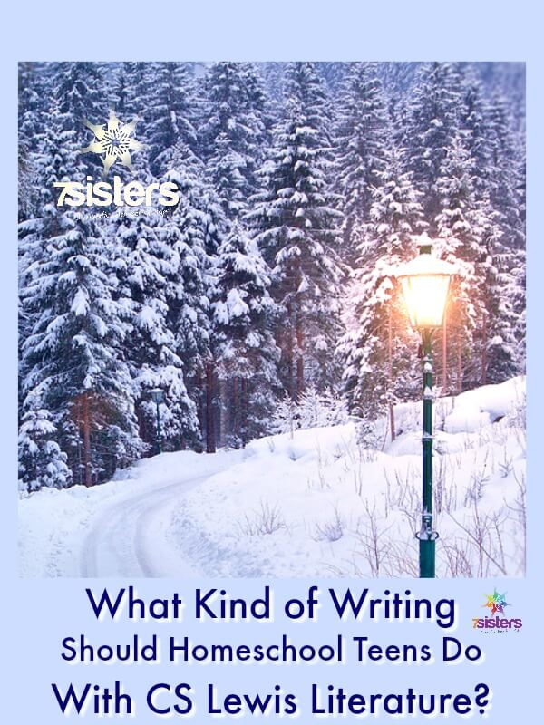 What Kind of Writing Should Teens Do With CS Lewis Literature? 7SisterHomeschool.com #WritingWithCSLewisFiction #WritingAndReadingChroniclesOfNarnia #7SistersHomeschool #HomeschoolHighSchoolWritingAndLiterature This photo shows a glowing lamp post in a fir forest on a snowy day.