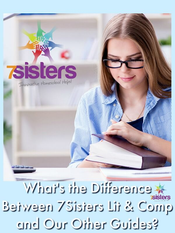 What's the Difference Between 7Sisters Lit & Comp vs Our Other Guides? 7SistersHomeschool.com #HomeschoolLanguageArts The photo shows a teen getting ready to start her reading with her computer ready for her to type in answers from her Study Guide.