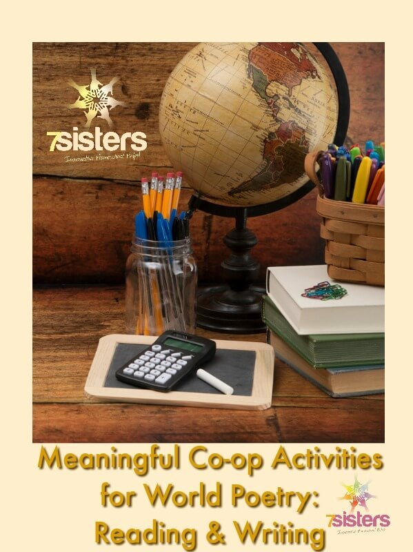 Meaningful Co-op Activities for World Poetry: Reading & Writing #HomeschoolEnglishCurriculum #HomeschoolWorldPoetry #HomeschoolHighSchool 7SistersHomeschool.com This photo shows globe, small chalkboard, books and jar with pens and pencils.
