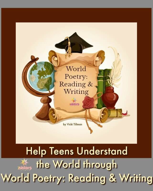 Help Teens Understand the World through World Poetry: Reading and Writing 7SistersHomeschool.com #WorldPoetryForHomeschool #WorldPoetryForTeens #PoetryForHomeschoolHighSchool #7SistersHomeschool.com This illustration show a globe, scroll, graduation cap, quill pen, inkwell and books.